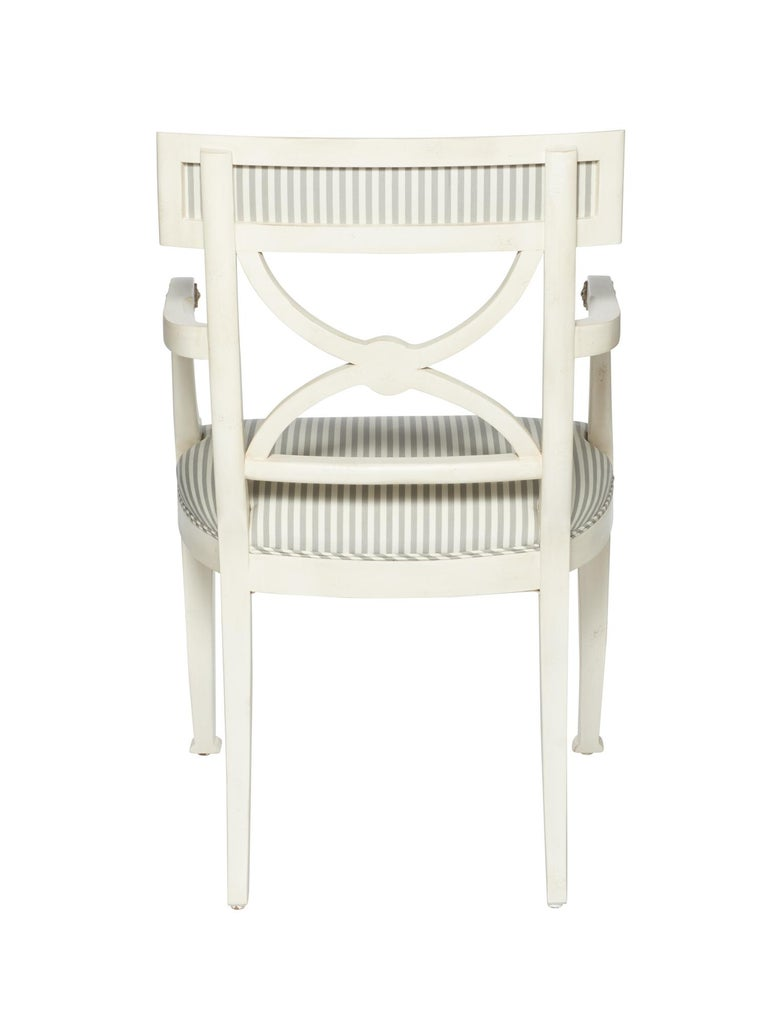 Contemporary Schumacher Westminster Brigitte Stripe Grey Hand-Carved Beechwood Frame Armchair For Sale