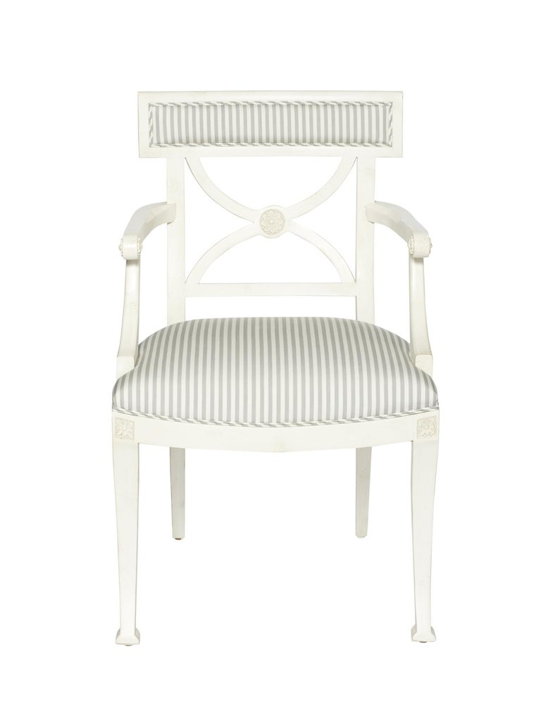 Wood Schumacher Westminster Brigitte Stripe Grey Hand-Carved Beechwood Frame Armchair For Sale