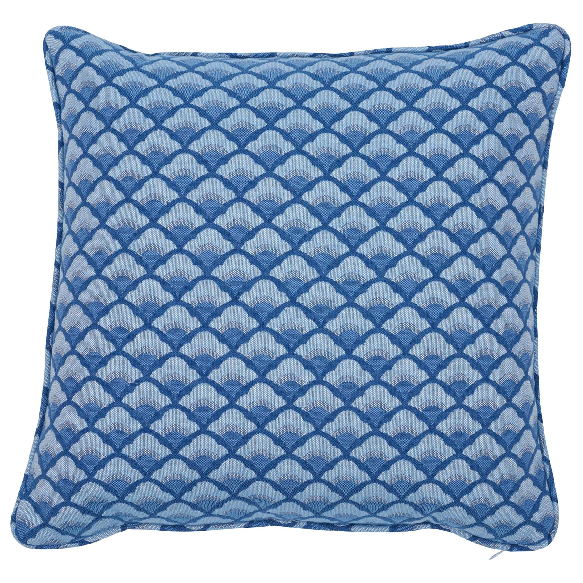 Schumacher Wilhelm Blue Two-Sided Cotton Pillow