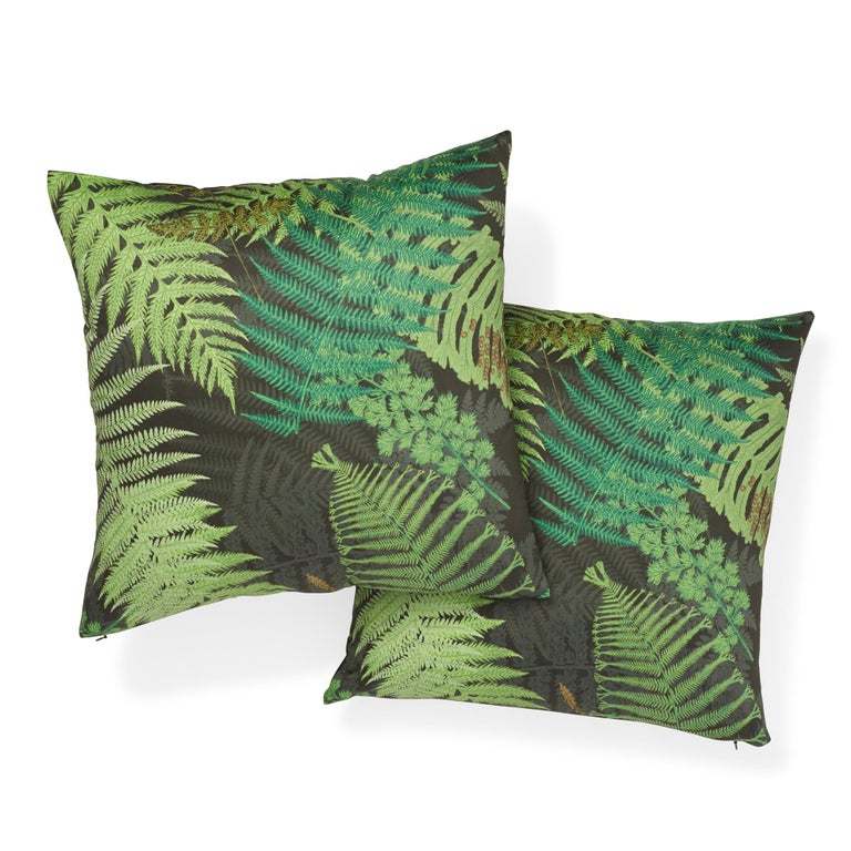 Schumacher x Clements Ribeiro Fernarium Green & Black Cotton Pillow In New Condition For Sale In New York, NY