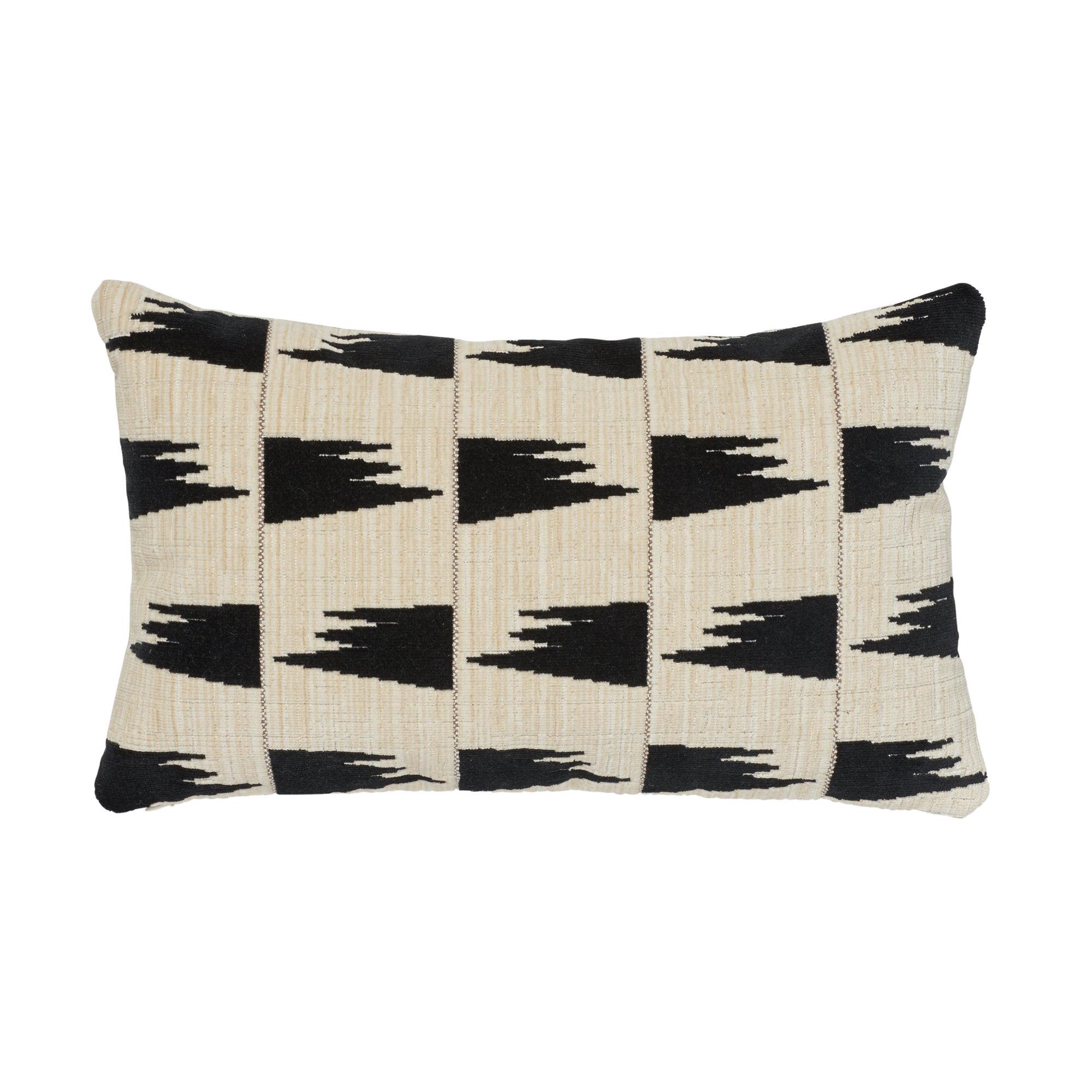 Schumacher x David Kaihoi Tutsi Ivory Cotton Linen Lumbar Pillow