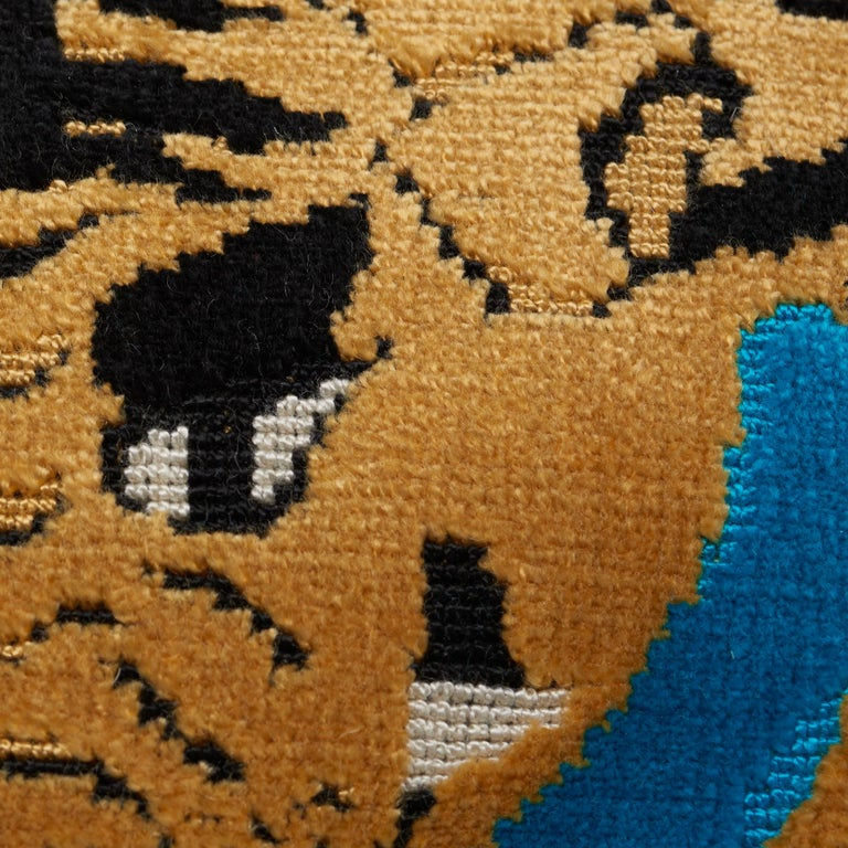 Belgian Schumacher x Johnson Hartig Jokhang Tiger Velvet Peacock Olive Two-Sided Pillow For Sale