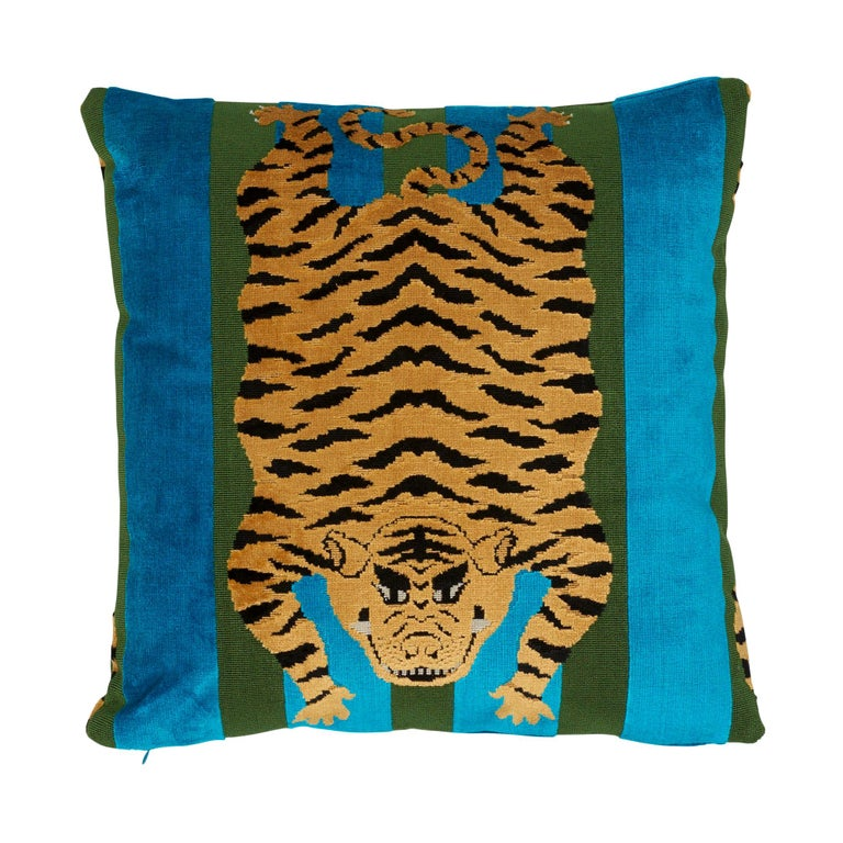 Schumacher x Johnson Hartig Jokhang Tiger Velvet Peacock Olive Two-Sided Pillow For Sale