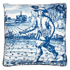 "Schumacher x Johnson Hartig Modern Toile 20"" Pillow in Indigo"