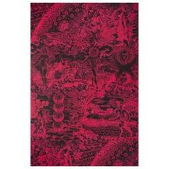 Schumacher x Johnson Hartig Modern Toile Wallpaper in Pink and Black