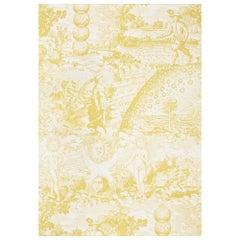 Schumacher x Johnson Hartig Modern Toile Wallpaper in Yellow
