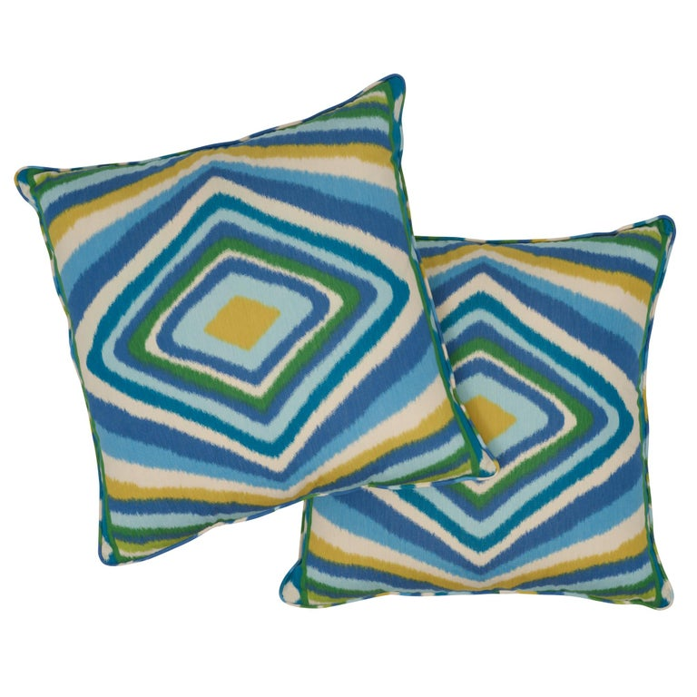 Contemporary Schumacher x Johnson Hartig Terence Ikat Peacock Cotton Two-Sided Pillow For Sale