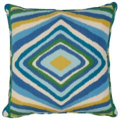 Schumacher x Johnson Hartig Terence Ikat Peacock Cotton Two-Sided Pillow