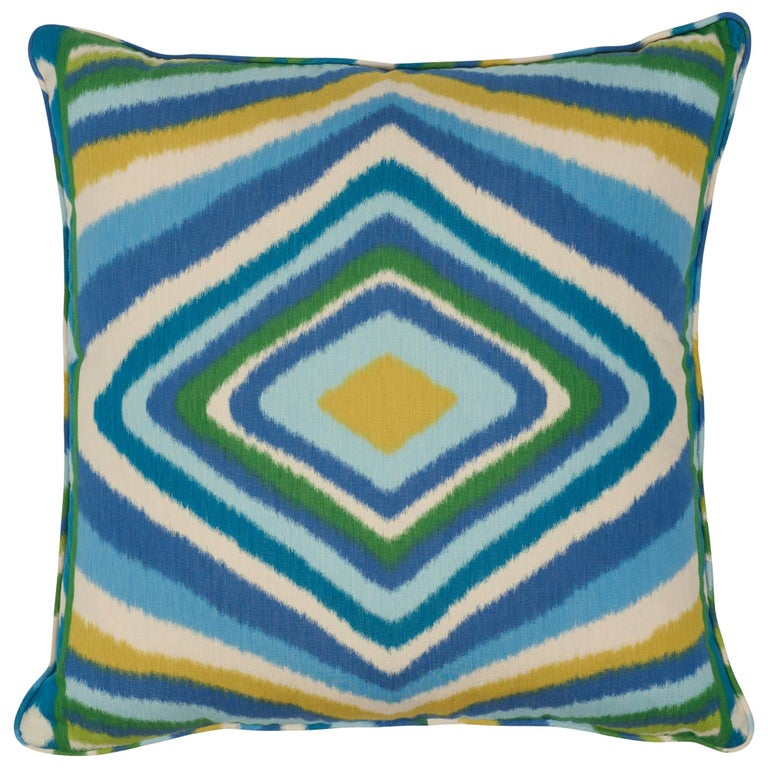 Schumacher x Johnson Hartig Terence Ikat Peacock Cotton Two-Sided Pillow For Sale