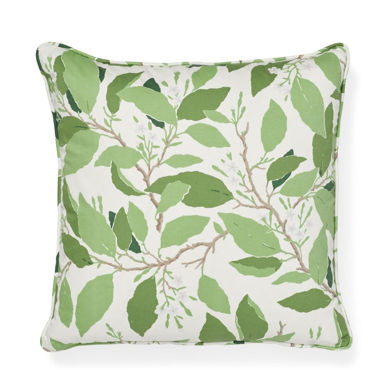 American Schumacher x Miles Redd Dogwood Leaf Ivory Two-Sided Cotton Pillow For Sale