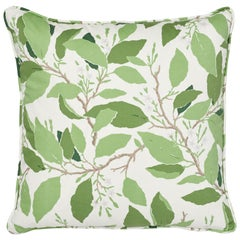 Schumacher x Miles Redd Dogwood Leaf Ivory Two-Sided Cotton Pillow