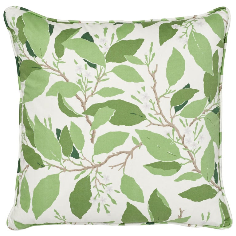 Schumacher x Miles Redd Dogwood Leaf Ivory Two-Sided Cotton Pillow For Sale