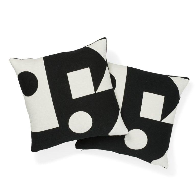 Modern Schumacher X Porter Teleo Binary Embroidery Black Cotton Pillow For Sale
