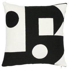 Schumacher X Porter Teleo Binary Embroidery Black Cotton Pillow