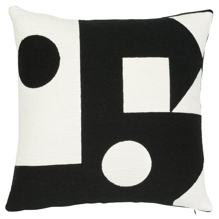 Schumacher X Porter Teleo Binary Embroidery Black Cotton Pillow For Sale