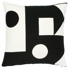Schumacher X Porter Teleo Binary Embroidery Black Cotton Pillow