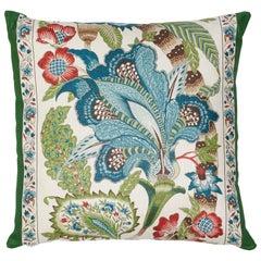 Schumacher x Timothy Corrigan Anjou Stripe Emerald Linen Two-Sided Pillow