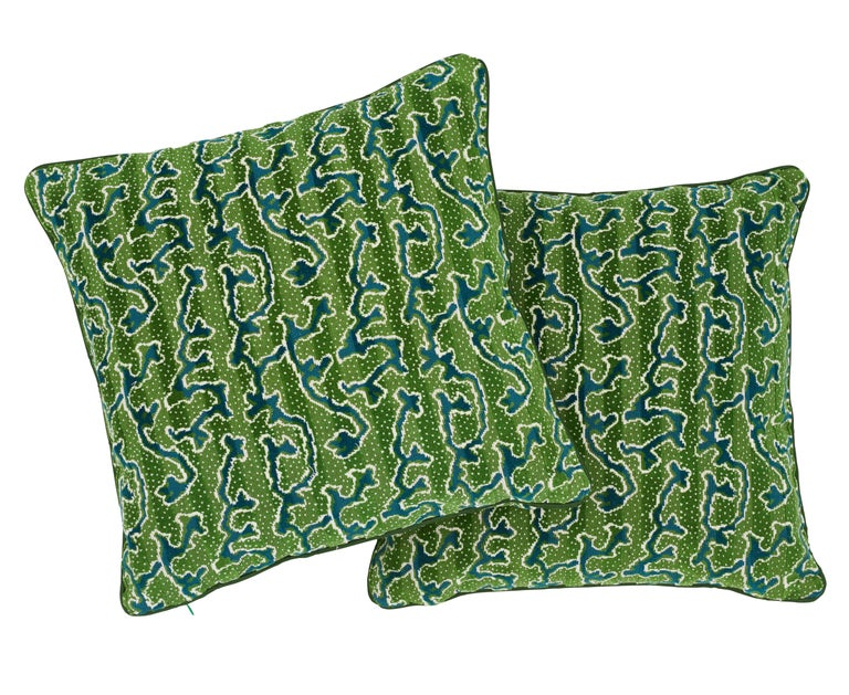 Modern Schumacher X Timothy Corrigan Corail Velvet Emerald Two-Sided Pillow For Sale