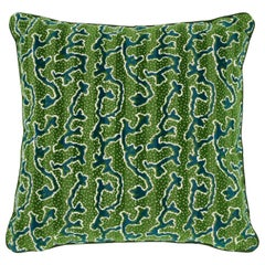 Schumacher X Timothy Corrigan Corail Velvet Emerald Two-Sided Pillow