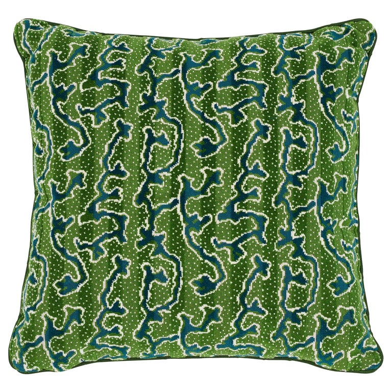 Schumacher X Timothy Corrigan Corail Velvet Emerald Two-Sided Pillow For Sale