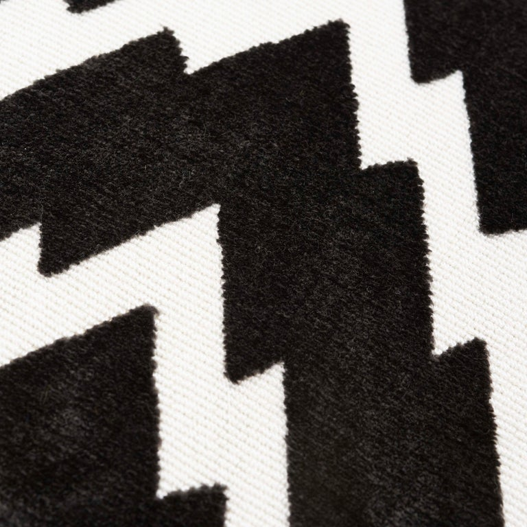 Modern Schumacher X Timothy Corrigan Florentine Velvet Black Two-Sided Pillow For Sale