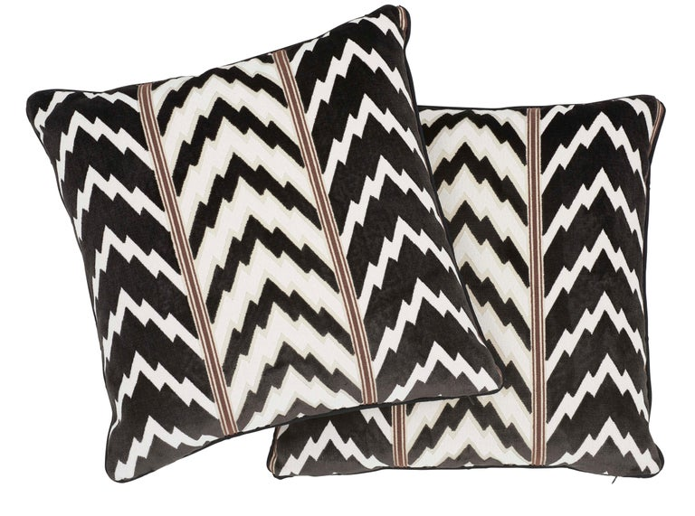 Schumacher X Timothy Corrigan Florentine Velvet Black Two-Sided Pillow In New Condition For Sale In New York, NY