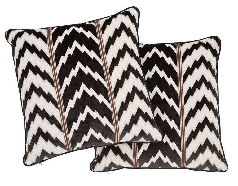 Contemporary Schumacher X Timothy Corrigan Florentine Velvet Black Two-Sided Pillow For Sale