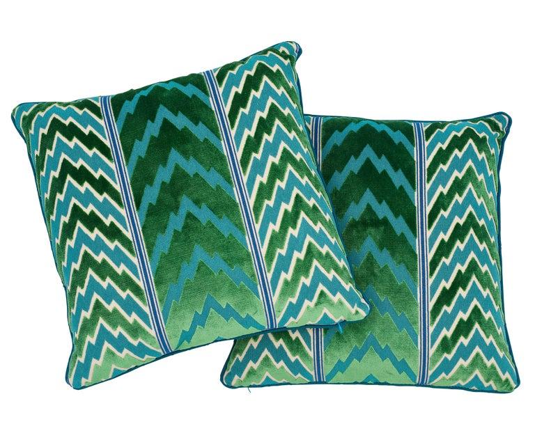 Belgian Schumacher X Timothy Corrigan Florentine Velvet Emerald Two-Sided Pillow For Sale