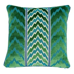 Schumacher X Timothy Corrigan Florentine Velvet Emerald Two-Sided Pillow