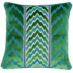 Schumacher X Timothy Corrigan Florentine Velvet Emerald Two-Sided Pillow