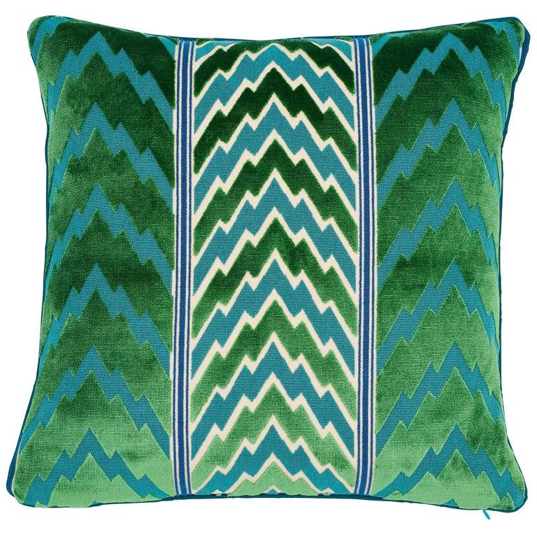 Schumacher X Timothy Corrigan Florentine Velvet Emerald Two-Sided Pillow For Sale