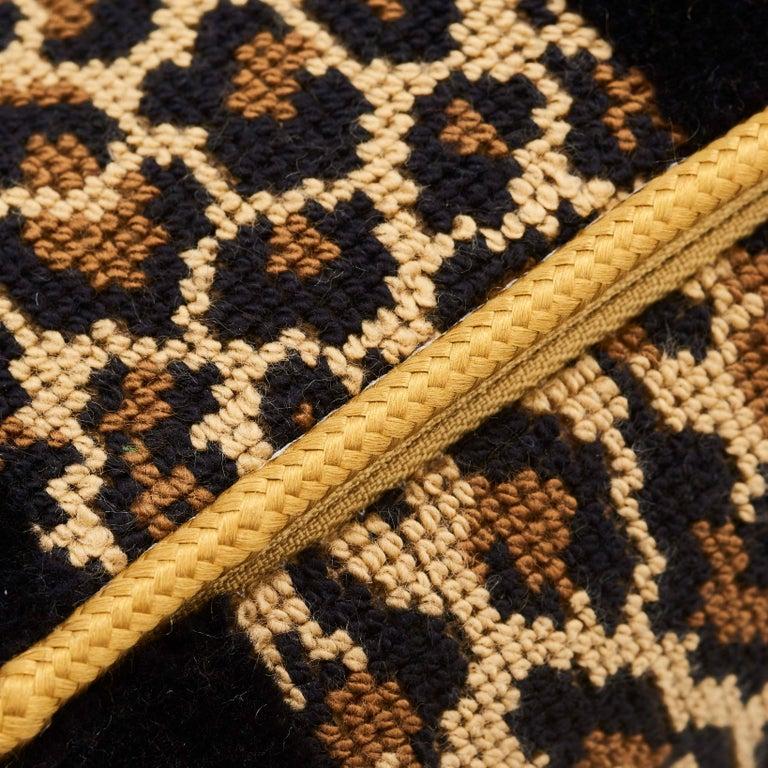 Modern Schumacher X Timothy Corrigan Guepard Stripe Velvet Black Lumbar Pillow For Sale