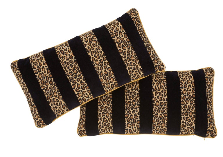 Belgian Schumacher X Timothy Corrigan Guepard Stripe Velvet Black Lumbar Pillow For Sale