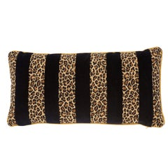 Schumacher X Timothy Corrigan Guepard Stripe Velvet Black Lumbar Pillow