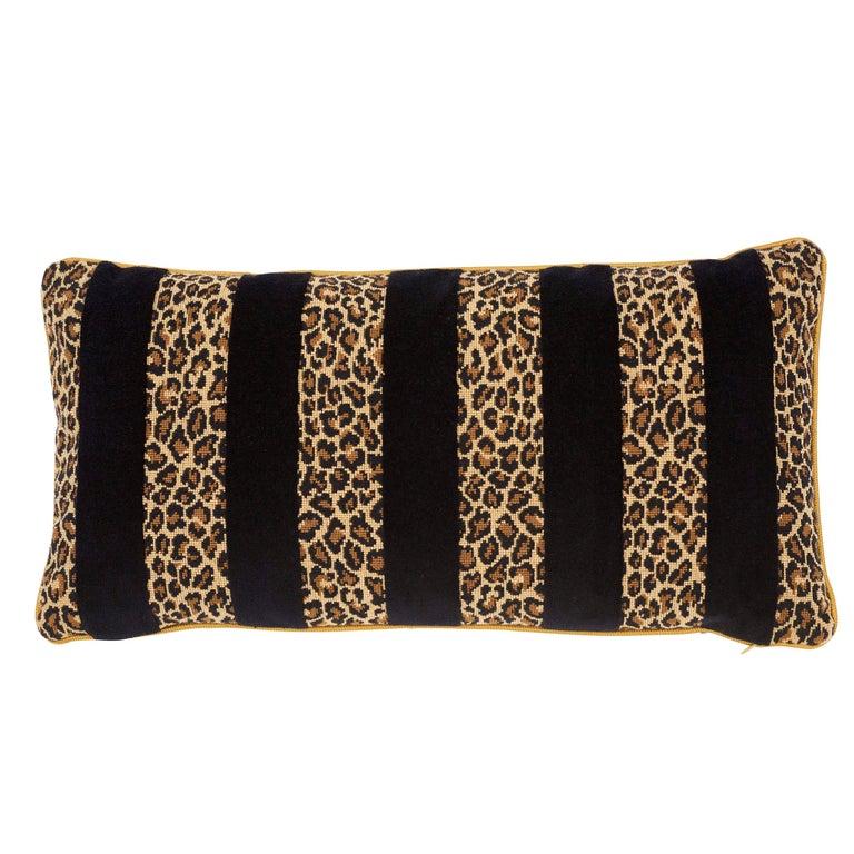 Schumacher X Timothy Corrigan Guepard Stripe Velvet Black Lumbar Pillow For Sale
