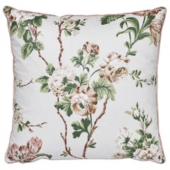 Schumacher X Veere Grenney Betty Chintz Quiet Pink Two-Sided Cotton Pillow