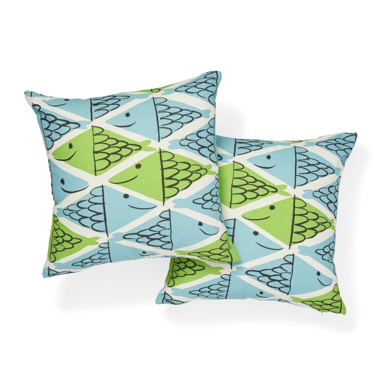 British Schumacher x Vera Neumann Fish School Aqua & Leaf Two-Sided Cotton Linen Pillow For Sale