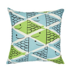 Schumacher x Vera Neumann Fish School Aqua & Leaf Two-Sided Cotton Linen Pillow