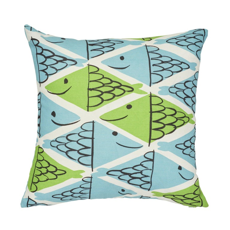 Schumacher x Vera Neumann Fish School Aqua & Leaf Two-Sided Cotton Linen Pillow For Sale