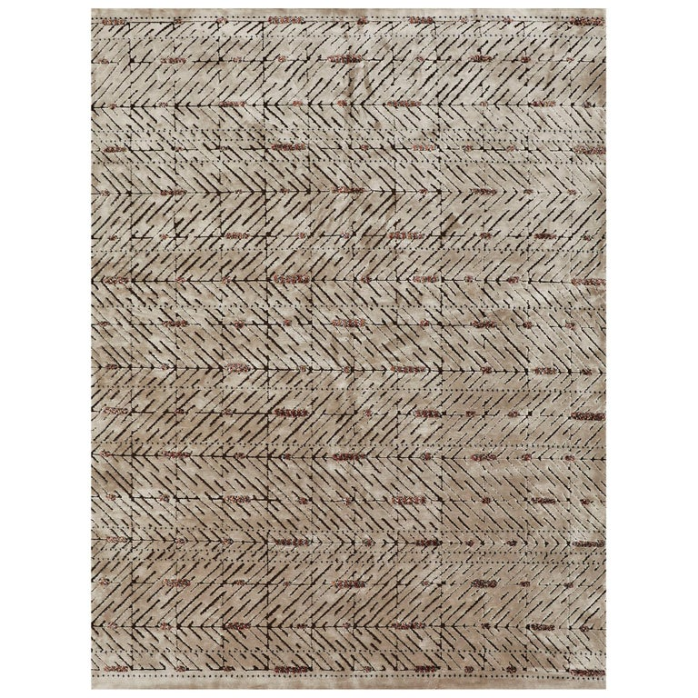 Schumacher Yorubu Area Rug in Hand-Woven Wool & Silk by Patterson Flynn Martin For Sale