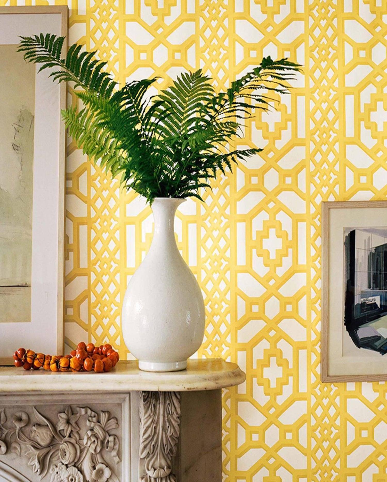 Schumacher Zanzibar Trellis Canary Yellow Wallpaper, Two Roll Set ...