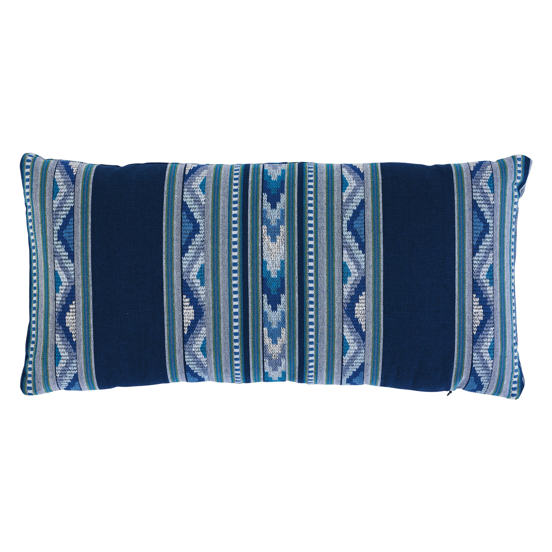 Schumacher Zarzuela Stripe Embroidery Pillow in Indigo