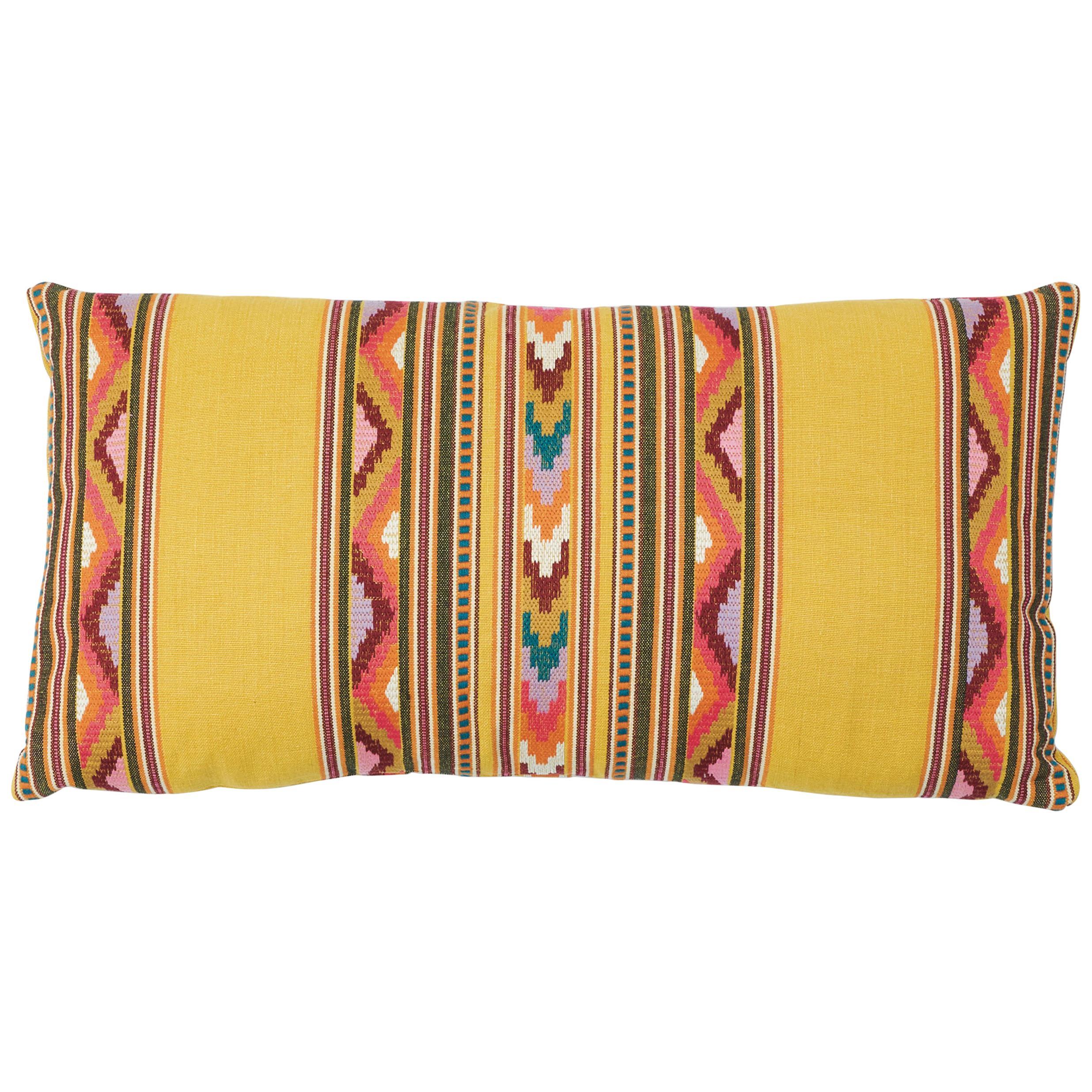 Schumacher Zarzuela Stripe Embroidery Pillow in Saffron