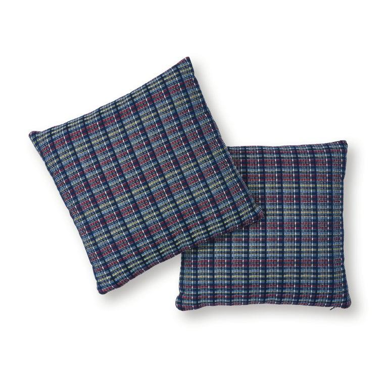 Scandinavian Modern Schumacher Zealand Check Pillow in Navy Multi For Sale