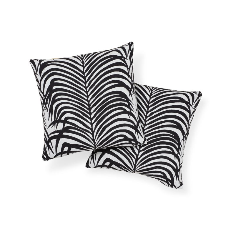 American Schumacher Zebra Palm Indoor/Outdoor Black Pillow For Sale