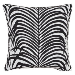 Schumacher Zebra Palm Indoor/Outdoor Black Pillow