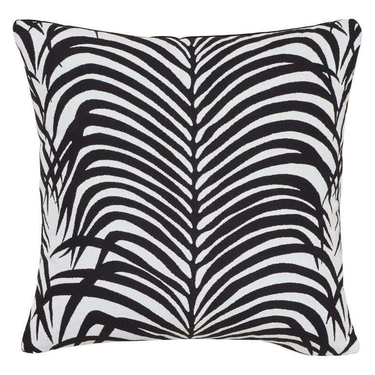 Schumacher Zebra Palm Indoor/Outdoor Black Pillow For Sale