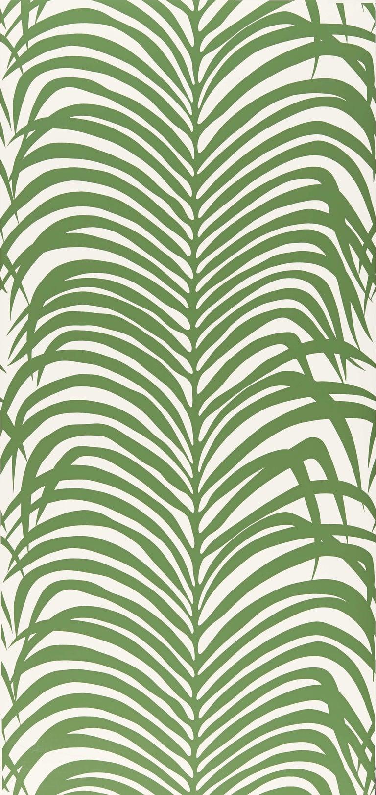 Bohemian Schumacher Zebra Palm Wallpaper in Jungle For Sale