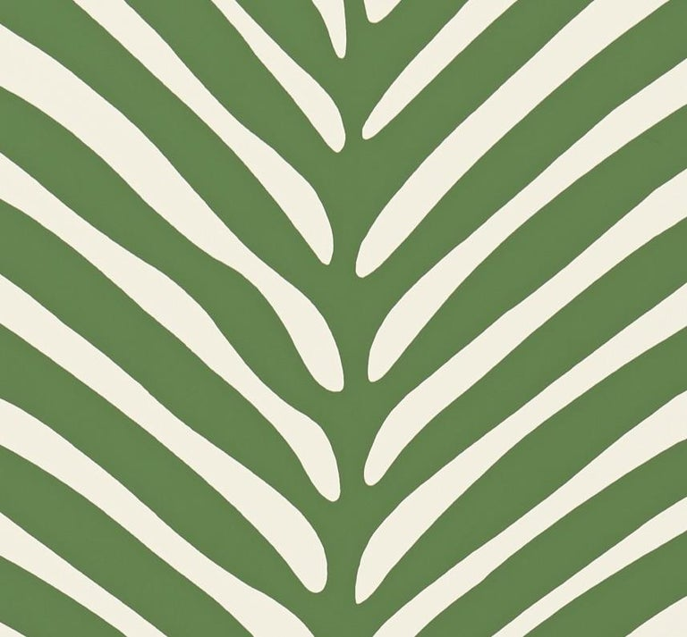 American Schumacher Zebra Palm Wallpaper in Jungle For Sale