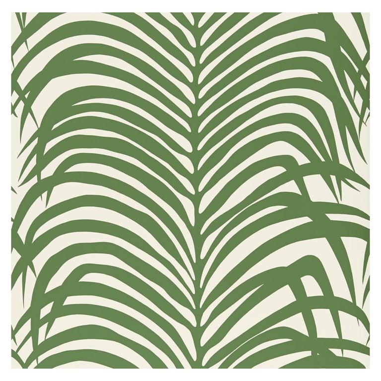 Schumacher Zebra Palm Wallpaper in Jungle For Sale